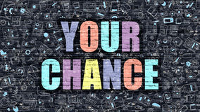 Your Chance in Multicolor. Doodle Design. Stock Image