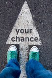 Your chance sign. Green shoes standing on your chance sign stock photo