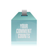 Your comment counts. suggestion box illustration Stock Photography