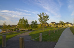Your Community: A beautiful suburban neighbourhood. Beautiful Master Planned Suburban Community with sustainable and active lifestyle features Royalty Free Stock Photos