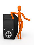 Your computer. Orange mannequin and PC. Isolated