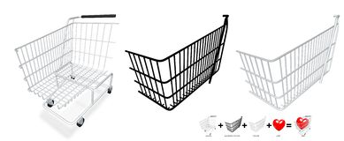 Your content in a cart. Put your own content in shopping cart with only 5 step in e.q. Photoshop or Gimp. Content of image are 3 member. Back cover, front cover vector illustration