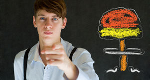 Your country needs you nuclear war man concept blackboard background Stock Photos