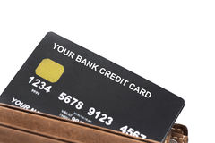 Your Credit Card In Wallet Isolated On White Royalty Free Stock Photos