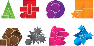 Your custom logo made from basic shapes. Your new custom logo different colors Royalty Free Stock Images