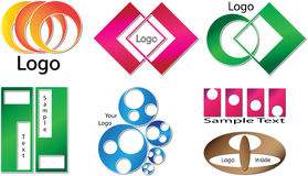 Your custom logo made from basic shapes. Your new custom logo different colors from circles and squares Stock Image