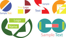 Your custom logo with sample text. Your new custom logo with sample text in different colors Royalty Free Stock Images