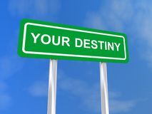 Your destiny sign. With blue sky and cloudscape background royalty free stock images