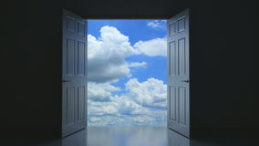 Your door to Paradise mk II. Afterlife abstract concept, 3D animation vector illustration