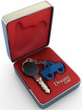 Your dream car. Concept of your dream car. The key inside a steel box, shows high comfort, class and refinement of a car, that wait for you Stock Images