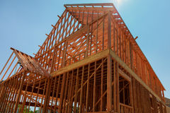 Your dream home. New residential construction house framing Stock Images