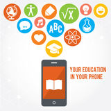 Your education in phone. Set of colored flat icons. Your education in phone. Set of 14 colored flat icons Royalty Free Stock Images