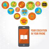 Your education in phone. Set of colored icons. Your education in phone. Set of colored flat icons. Red, blue, green backgrounds Royalty Free Stock Photography