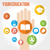 Your education set of icons. Your education. Set of colored icons of education in preschool, school, college stock illustration