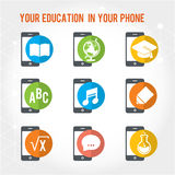 Your education in your phone. Book, globe, alphabet, notes, pen, math, bulb colored flat icons Royalty Free Stock Photography