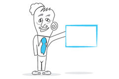 Your Empty Board. Vector drawn Human with a big blue hourglass piece in hands Royalty Free Stock Photos