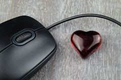 Love with a mouse click - Online Dating. Your eternal love might be only one click away Stock Photos