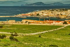 Your Eyes now See Favignana and across the Tyrrhenian Sea For Trapani, Sicily With Me royalty free stock images