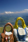Your face here (in Switzerland). Tourist 'photo op' in Switzerland on top of Rigi Mountain stock images
