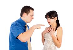 It is your fault!. Boyfriend threatening his girlfriend - isolated on white Royalty Free Stock Photo