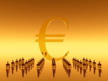 Your financial  work team, eur. 3D illustration,  background.  Businessmen in front of a euro sign, symbol. Economy, teamwork, success, financial concept Stock Images