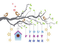 Your first home house moving-in greeting card. This image is a vector illustration Royalty Free Stock Photos