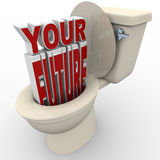Your Future Flushing Down Toilet Prospects at Risk Stock Image