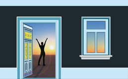 Your gate to success. Happy person in the rising sun as a symbol for positive thinking and success Stock Photography
