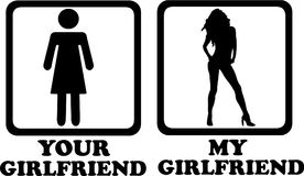 Your girlfriend compared with my sexy girlfriend. Vector icon Stock Photos
