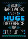 Your Hard Work Makes a Huge Difference for Our Family. Typography vector art design poster in blue and white on black background Stock Photos