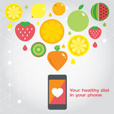 Your healthy food in you phone. Fruits. Vector modern illustration, stylish design elememt Royalty Free Stock Photography