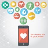 Your healthy life in your phone, health illustration. Vector modern flat design element royalty free illustration