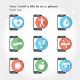 Your healthy life in your phone, illustration. Modern illustration and design element set royalty free illustration