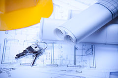 Your Home Project. Construction plans of interior and keys. Studio Shot royalty free stock image