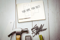 Your home, your rules against blueprint Royalty Free Stock Photos