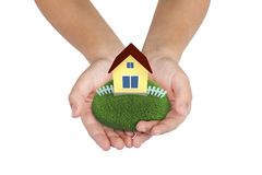 Your house in your hands Stock Photos