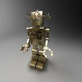 Your humble servant. Golden mechanical robot - servant. 3D image Royalty Free Stock Photo