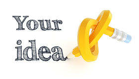 Your idea knotted colour pencil illustration. Your idea phrase wrote by knotted pencil - yellow 3d render illustration on white background Stock Photo