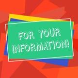 For Your Information di rappresentazione del segno del testo Le informazioni concettuali della foto sono divise e che nessun mucc illustrazione vettoriale