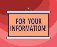 For Your Information di rappresentazione del segno del testo Le informazioni concettuali della foto sono divise e che nessun port royalty illustrazione gratis
