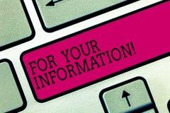 For Your Information di rappresentazione del segno del testo Le informazioni concettuali della foto sono divise e che nessuna chi royalty illustrazione gratis