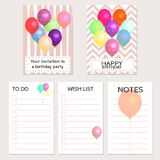 Your invitation to a birthday party. Birthday cards with colorful balloons and place for your text. Invitation, congratulation, to dowish lists, and notes Royalty Free Stock Photos