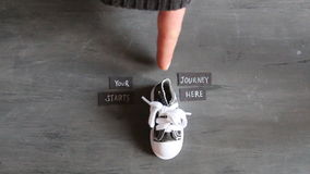 Your journey starts here, vintage style. Your journey starts here - motivational quote stock footage