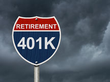 Your 40k1 Retirement Fund. Is in trouble, A road interstate sign with words Retirement and 401k with stormy sky Stock Photos