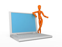 Your laptop. Orange mannequin and white laptop. Isolated Stock Photo