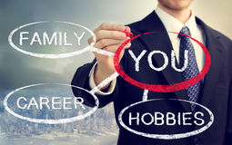 Your life. Balanced between your family, hobbies and career Stock Images