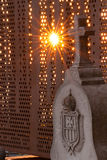 Your light will not turn off. Sunset on a grave in the cemetery of Granada, Andalusia, Spain Stock Images