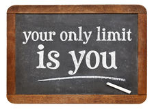 Your only limit is you - concept on blackboard royalty free stock images