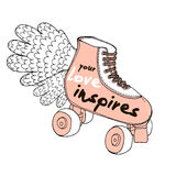 Your Love inspires. Love quote on retro hand drawn roller skates.. Romantic Hand lettering. Background for wedding, save the date, Valentine`s Day, etc. Vector Stock Image