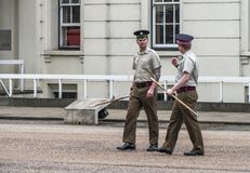 Your Majesty royal guards changing ceremony at Whitehall. The orchestra Stock Photos